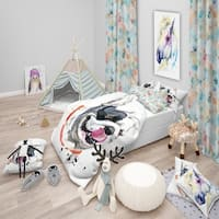 Designart 'Kiss French Bulldog Illustration' Modern & Contemporary Bedding Set - Duvet Cover & Shams