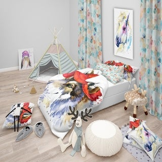 Designart - Wolf with Red Cap Illustration - Modern & Contemporary Duvet Cover Set