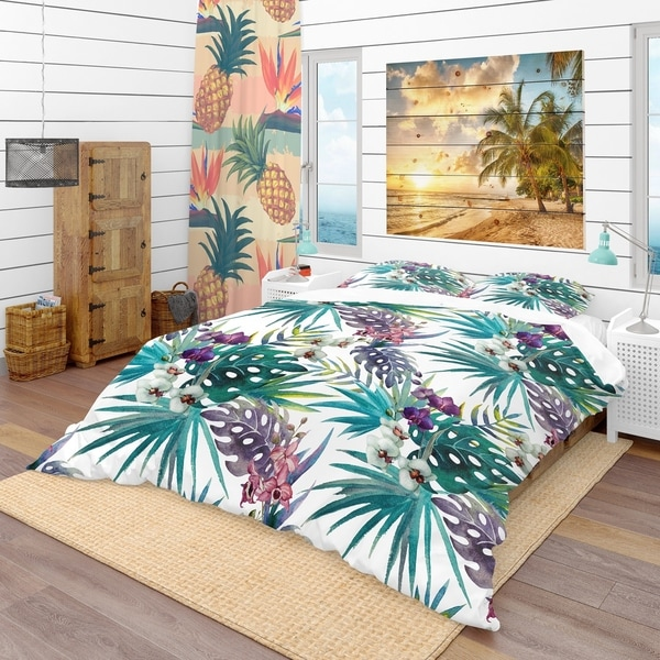 Designart 'Pattern Orchid Hibiscus Leaves Watercolor Tropics' Tropical Bedding Set - Duvet Cover & Shams