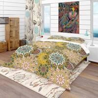 Designart 'Mandala Pattern For Printing on Fabric Or Paper' Bohemian & Eclectic Bedding Set - Duvet Cover & Shams
