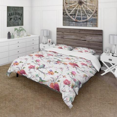 Designart 'Vintage Pattern: Bird, Flowers, Leaves' Farmhouse Bedding Set - Duvet Cover & Shams