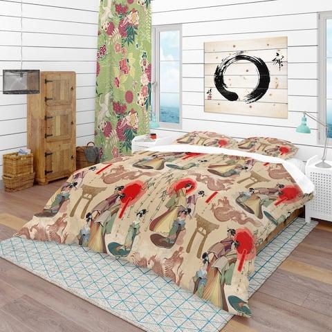 Designart 'Japanese Geishas & Dragons' Oriental Bedding Set - Duvet Cover & Shams