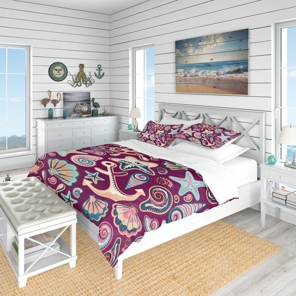 Designart 'Purple Sea Shells' Coastal Bedding Set - Duvet Cover & Shams
