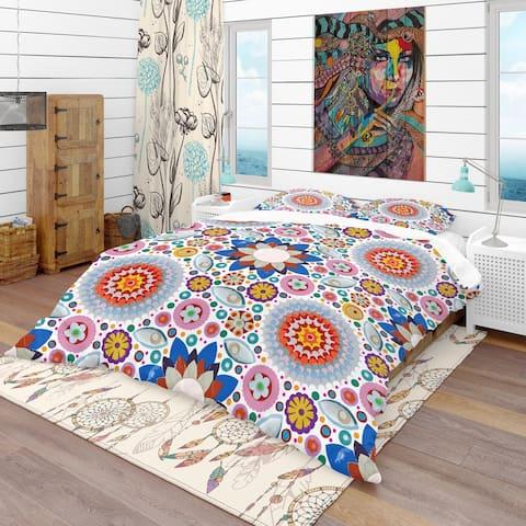 Designart 'Abstract Flowers Pattern' Bohemian & Eclectic Bedding Set - Duvet Cover & Shams