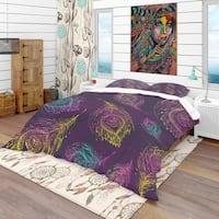 Designart 'Peacock Feather Pattern' Southwestern Bedding Set - Duvet Cover & Shams