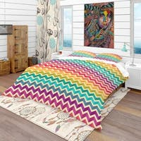 Designart 'Geometric Pattern with Zigzags' Bohemian & Eclectic Bedding Set - Duvet Cover & Shams