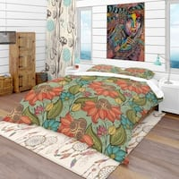 Designart 'Colorful Floral Pattern' Bohemian & Eclectic Bedding Set - Duvet Cover & Shams