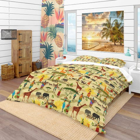 Designart 'Ethnic African Texture' Tropical Bedding Set - Duvet Cover & Shams