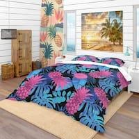 Designart 'Tropical Fruits & Palm Leaves' Tropical Bedding Set - Duvet Cover & Shams