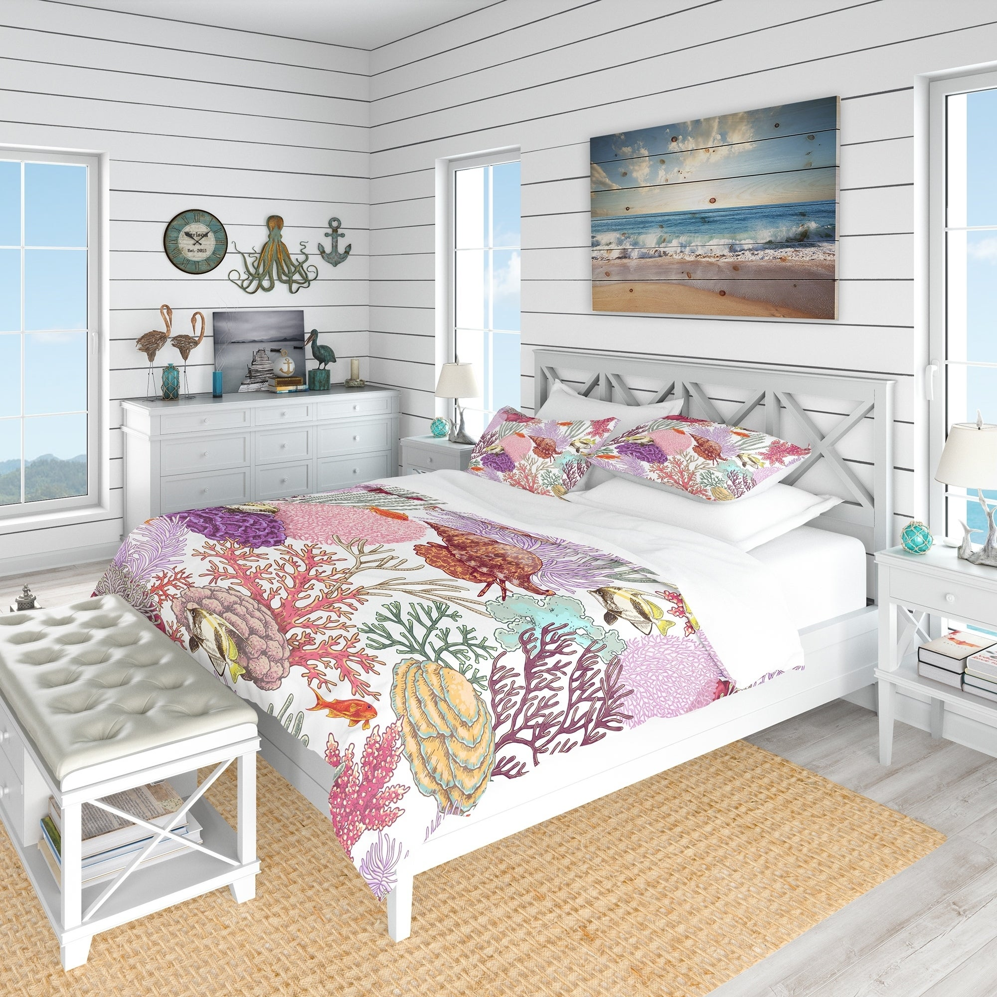 Shop Black Friday Deals On Designart Coral Reef And Fishes Pattern Nautical Coastal Bedding Set Duvet Cover Shams Overstock 23507180
