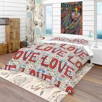 Designart 'Color Love Pattern' Modern & Contemporary Bedding Set - Duvet Cover & Shams