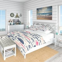 Designart 'Cute Fishes with Doodles' Nautical & Coastal Bedding Set - Duvet Cover & Shams