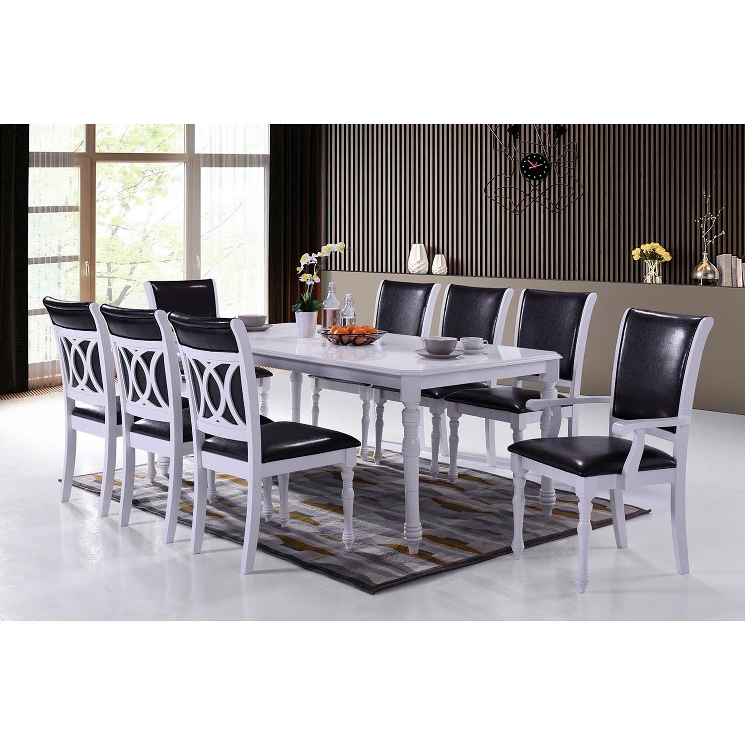 Indoor Black And White Modern 9pc Dining Set With A Solid Wood Rectangular Dining Table And 8 Upholstered Dining Chairs Overstock 23507202