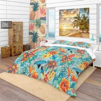 Designart 'Tropical Pattern' Tropical Bedding Set - Duvet Cover & Shams