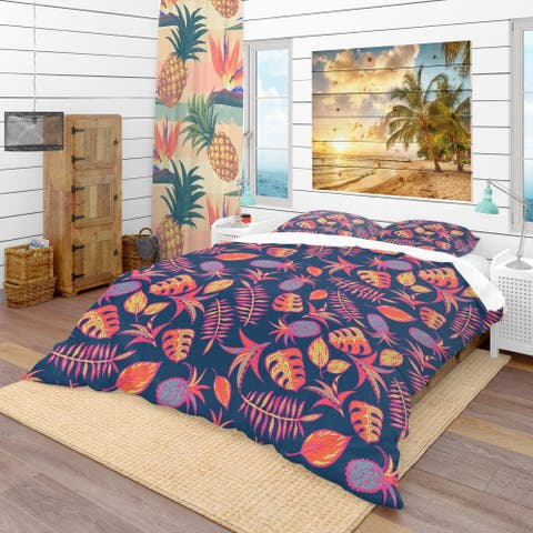 Designart 'Cartoon Tropical Pattern' Tropical Bedding Set - Duvet Cover & Shams