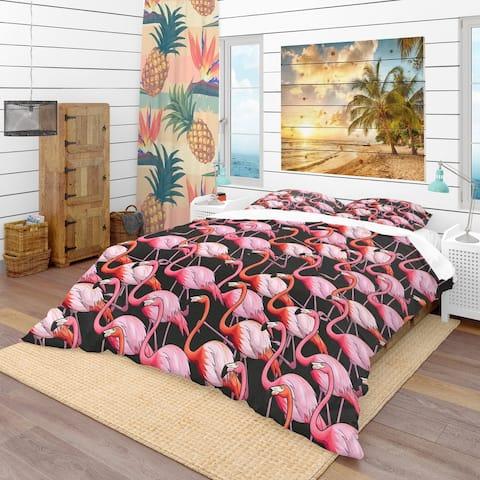 Designart 'Colorful Flamingo' Tropical Bedding Set - Duvet Cover & Shams