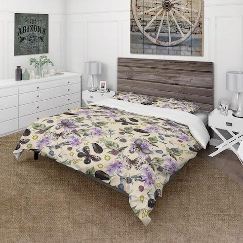 Designart 'Butterflies and Flowers' Cabin & Lodge Bedding Set - Duvet Cover & Shams