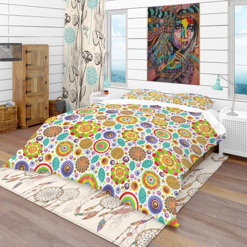 Designart 'Fashionable Flowers Pattern' Bohemian & Eclectic Bedding Set - Duvet Cover & Shams