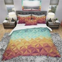 Designart 'Retro Hipsters Geometric Pattern' Vintage Bedding Set - Duvet Cover & Shams