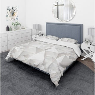 Designart - White Crumpled Abstract - Scandinavian Duvet Cover Set