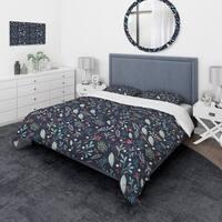 Designart 'Sparkling Forest Leaves on Dark Blue' Modern & Contemporary Bedding Set - Duvet Cover & Shams