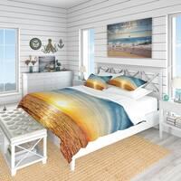 Designart 'Brilliant Texture of Sea Currents' Beach Bedding Set - Duvet Cover & Shams
