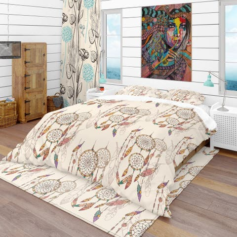 Designart 'Bohemian Dream Catcher with Beads & Feathers' Southwestern Bedding Set - Duvet Cover & Shams