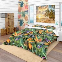 Designart 'Tropical Pattern with Exotic Flowers' Tropical Bedding Set - Duvet Cover & Shams