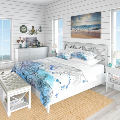 Designart 'Marine Creatures Illustration' Beach Bedding Set - Duvet Cover & Shams