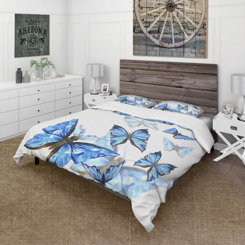 Designart 'Watercolor Butterflies on White' Cabin & Lodge Bedding Set - Duvet Cover & Shams