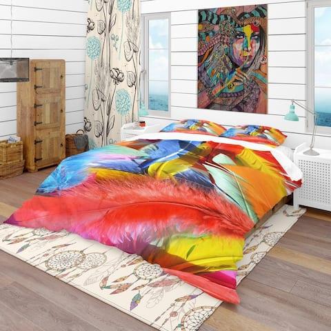 Designart 'Feathers Texture' Southwestern Bedding Set - Duvet Cover & Shams
