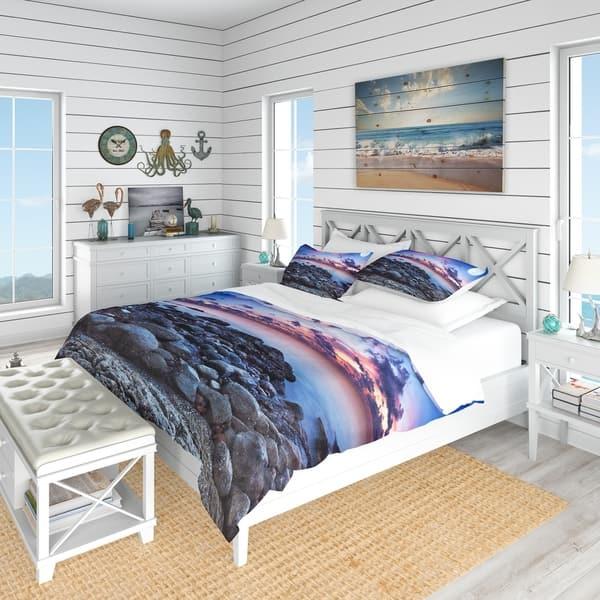 Shop Designart Full Moon Fantasy Seascape Nautical Coastal Bedding Set Duvet Cover Shams Overstock 23507311