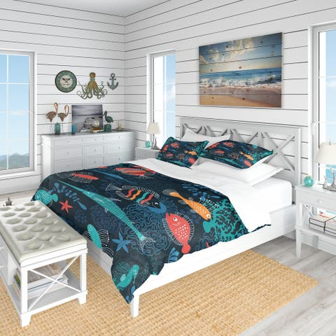 Designart 'Marine Life' Modern & Contemporary Bedding Set - Duvet Cover & Shams