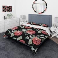 Designart 'Red Rose in Black Background' Traditional Bedding Set - Duvet Cover & Shams
