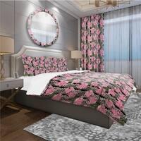Designart 'Black Lacy Roses Pattern' Bohemian & Eclectic Bedding Set - Duvet Cover & Shams