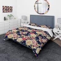 Designart 'Colorful Roses Floral Pattern' Bohemian & Eclectic Bedding Set - Duvet Cover & Shams