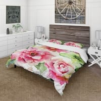 Designart 'Roses and Gerber Flowers Watercolor' Country Bedding Set - Duvet Cover & Shams