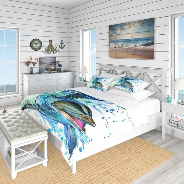 Designart 'Large Blue Dolphin Watercolor' Nautical & Coastal Bedding Set - Duvet Cover & Shams