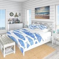 Designart 'Pattern with Fishes' Nautical & Coastal Bedding Set - Duvet Cover & Shams