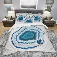 Designart 'Blue Agate Crystal' Modern & Contemporary Bedding Set - Duvet Cover & Shams