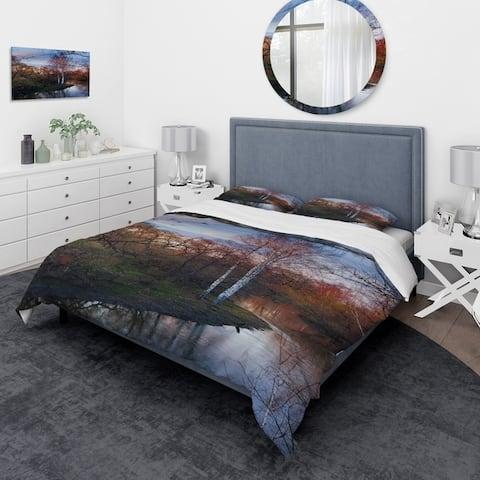 Designart 'Forest River in The Spring' Traditional Bedding Set - Duvet Cover & Shams