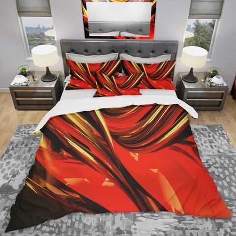 Designart 'Fire Lines Red Abstract' Modern & Contemporary Bedding Set - Duvet Cover & Shams