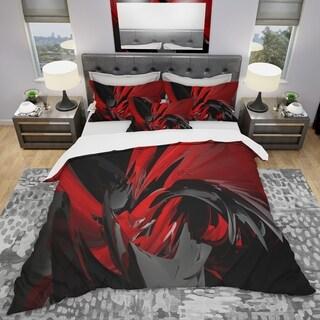 Designart 'Red and Grey Mixer' Modern & Contemporary Bedding Set - Duvet Cover & Shams
