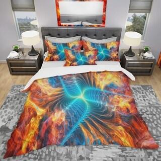 Designart - Electric Fire - Modern & Contemporary Duvet Cover Set
