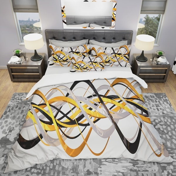 shop designart 39 gold and silver helix 39 modern contemporary bedding set duvet cover shams. Black Bedroom Furniture Sets. Home Design Ideas