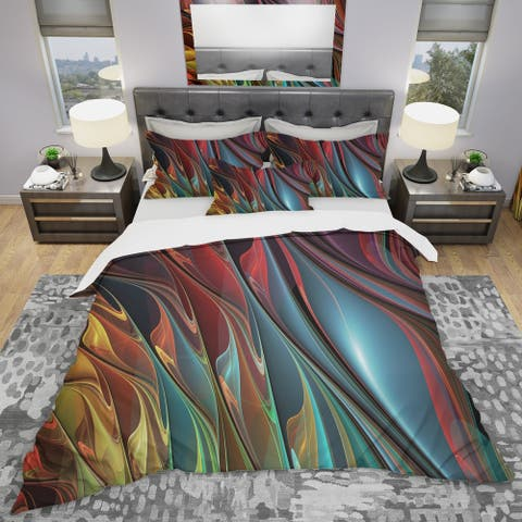 Designart 'Leaves of Color' Modern & Contemporary Bedding Set - Duvet Cover & Shams