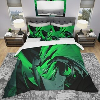 Designart - Green and Grey Mixer - Modern & Contemporary Duvet Cover Set