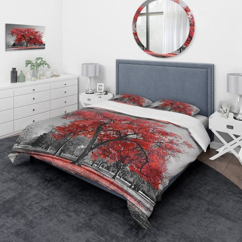 Designart 'Big Red Tree on Foggy Day' Traditional Bedding Set - Duvet Cover & Shams