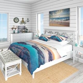 Designart - Blue Sicily Island - Coastal Duvet Cover Set