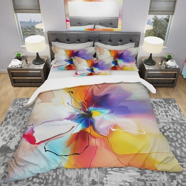 Designart 'Creative Flower in Multiple Colors' Modern & Contemporary Bedding Set - Duvet Cover & Shams